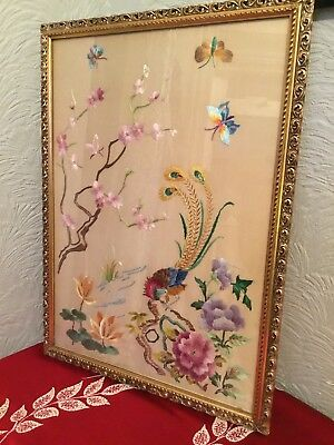Exquisite Vintage Gold Framed Silk Embroidery-Chinese/Peacock #397