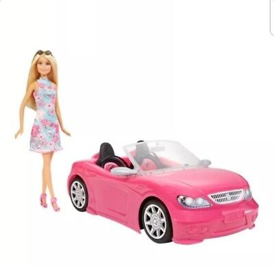 Barbie Convertible Pink Car and Doll Pack; Brand New in Box
