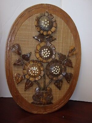Hand Carved, Sculptural Coconut Shell 3D Flowers Wall Art Hanging Plaque
