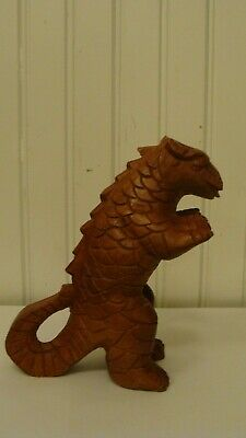 "Vintage Wood Hand Carved Dinosaur/Lizard Figurine/Statue 6"" tall"