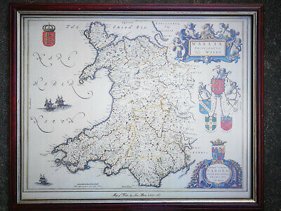 Canvas Print of Joan Bleau Antique Map of Wales In Quality frame