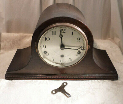 Antique Oak Veneer Napoleon Hat Mantel Clock Westminster Chime & Key Working 16""