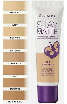 RIMMEL LONDON STAY MATTE LIQUID MOUSSE FOUNDATION 30ML Shade Ivory