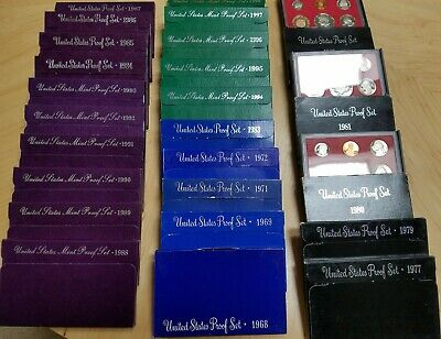 1968 - 1998 United States Proof Set And Mint Proof Set Lot Collection .. 25 Sets