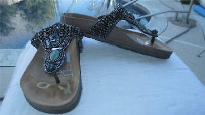 a0bc16305 NEW SAM EDELMAN Annalee Pewter Beaded Leather Sandals Slides Thongs ...