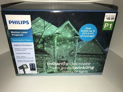 New Philips Christmas Green Laser Projector with Remote Twinkling dot Pattern