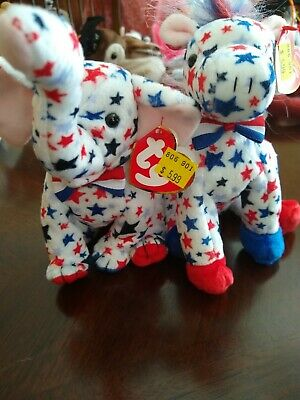 70329d44f8b TY POLITICAL BEANIE Babies Lefty and Righty 2004 - NEW AND MINT ...