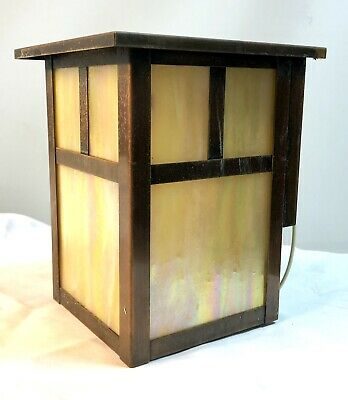 Arroyo Craftsman Wall Sconce Copper Arts & Crafts Style Mission Art Glass