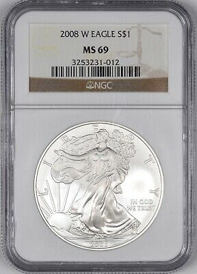 2008-W American Silver Eagle West Point $1 - NGC MS69 -