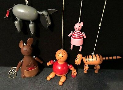 Vintage 1970's 5 Winnie The Pooh Characters Handcrafted Painted Wood Puppets