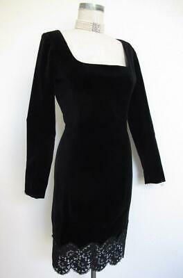 cdf9fcd5cac Vintage Emanuel Ungaro Black Velvet Cocktail Dress XS 2 Alencon Lace Trim