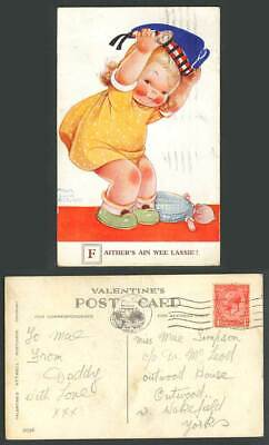 MABEL LUCIE ATTWELL 1932 Old Postcard Faither's Ain Wee Lassie Girl & Doll 2036