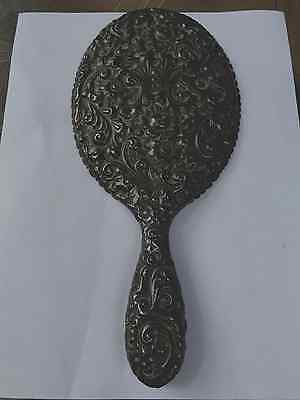 Repousse Antique STERLING SILVER HAND HELD VANITY Dresser  MIRROR