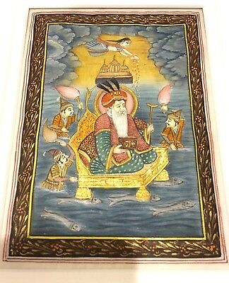 Antique Indian Miniature Painting Mughal Emperor King Fine Detailed Gold Work`