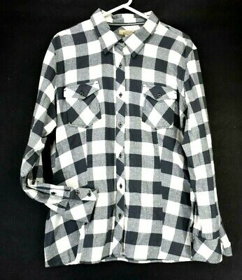Natural Reflections Women's 1X Plus Long Sleeve Shirt Plaid Checkered Gray Ivory