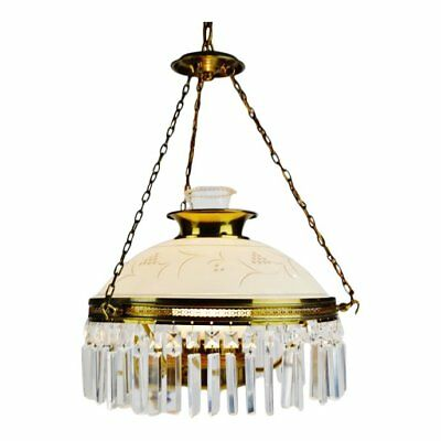 Vintage Victorian Style Electrified Parlor Oil Lamp Prism Chandelier