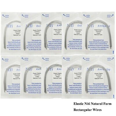 Dental Orthodontic Niti Elastic Arch Wires Natural Form Rectangular Upper Lower