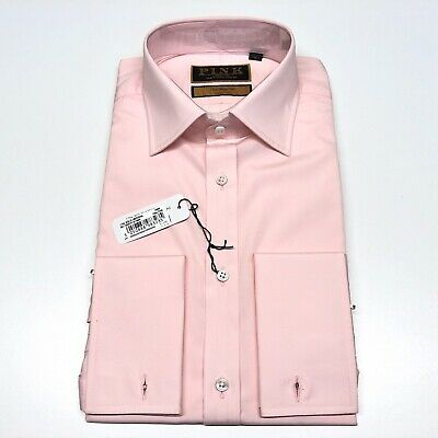 """Mens THOMAS PINK Shirt 15.5"""" Classic Fit Imperial 170s Cotton Double Cuff £175"""