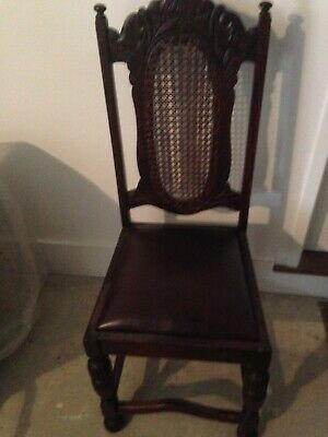 antique dining setting table and 5 chairs