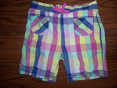 "Girls 'Jumping Beans' Size 5 - Yellow/Pink Plaid Casual Shorts - 20"" x 5"" Cotton"