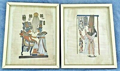 "PAIR OF HAND-PAINTED EGYPTIAN PAINTINGS ON PAPYRUS ~FRAMED AND SIGNED~8½"" x 10½"""