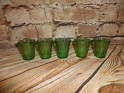 Vintage AKRO AGATE Stacked Disc Child Size Tumblers 5 Pieces Green Cups