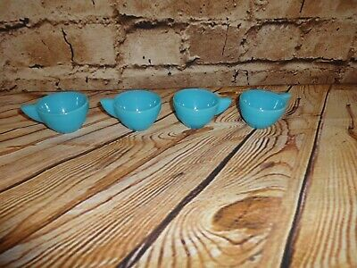 Vintage AKRO AGATE Stacked Disc Style Child Size 4 PCS Blue Tea Cups