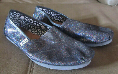2345cbbadb3 Toms Shoes Casual Flats Dark Gray Women s 8W Size 8 Multi Color Sparkles  Slip On