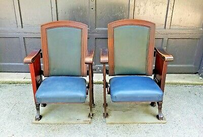 PAIR American Seating Co Cast Iron & Wood Folding Seat Movie Theater Chairs