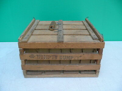 Early 1900s Primitive Americana Antique HUMPTY DUMPTY 1/2 Size Wood Egg Crate