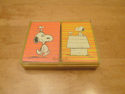 Vintage Hallmark SNOOPY Plastic Coated Double Deck PLAYING CARDS Box Set