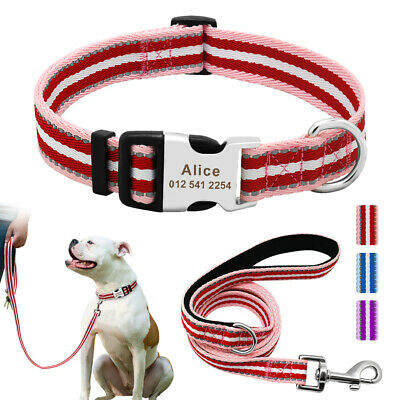 Small Large Personalized Dog Collar Leash Engraved Pet ID Name Custom Reflective