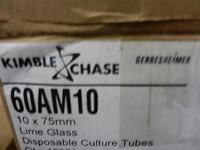 60AM10 Kimble Chase Disp Culture Tubes, 10 x 75mm. Lime Glass