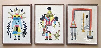 3 KACHINA DANCER DOLL Embroidery Pictures 12X16 Vintage Katsina Lot Unframed