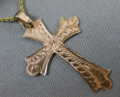 Antique Large 14Kt Two Tone Gold Filigree Floral Cross Pendant W/ Chain #24859