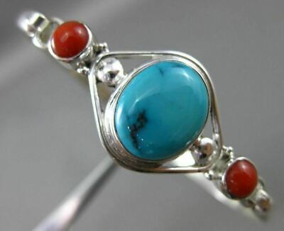 Antique Large Turquoise & Coral 925 Silver 3D Handcrafted Flexible Bangle #25133