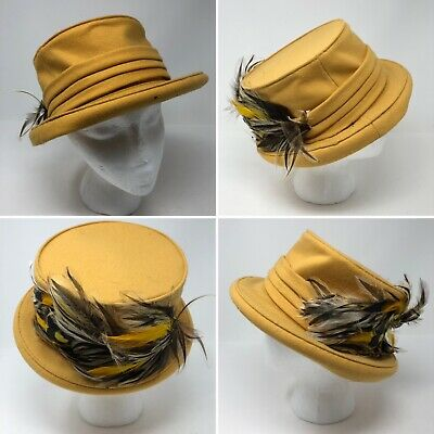 Florence Osterhout Womens Mustard Yellow Top Hat Feather Adorned