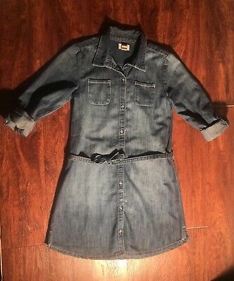 OLD NAVY Youth Girl's Denim Full Button Down Dress Size Large (10-12) Regular