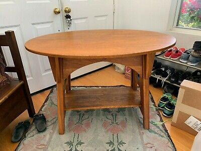 Charles Limbert Single Oval Library Table #146 Arts and Crafts Great Cut Outs