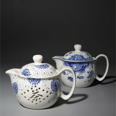 Jingdezhen Blue and White Porcelain Household Exquisite Honeycomb Teapot