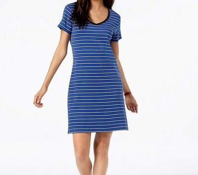 bd2dbc7fbeb Tommy Hilfiger NEW Blue Womens Size Large L Striped V-Neck Sheath Dress $69  088