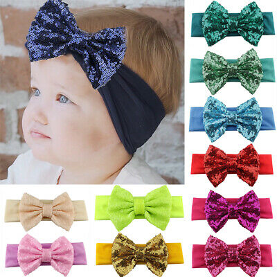 Infantile Girls Kids Big Sequin Bow Headbands Elastic Hair Band Hair Accessories