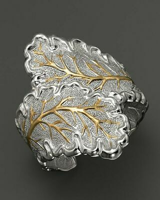 925 Silver Leaf Stainless Steel Ring Women/Men NEW Fashion Ring Gift SIZE OPEN