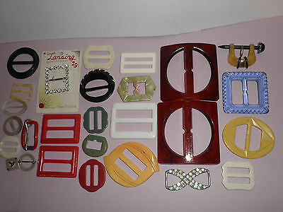 Mixed Lot Of 27  Assorted  Vintage Belt  Buckles Slides Sewing Accessories