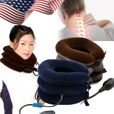 Air Inflatable Pillow Cervical Neck Headache Pain Traction Support Brace Home US