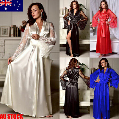 AU Women Ladies Satin Silk Nightdress Lingerie Sleepwear Dress Robe Nightie Gown