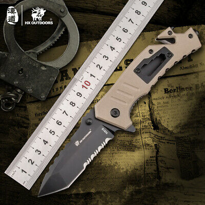 HX OUTDOORS 9cr18 Steel Fixed Blade Knife  Hunting Camping Survival handleG10