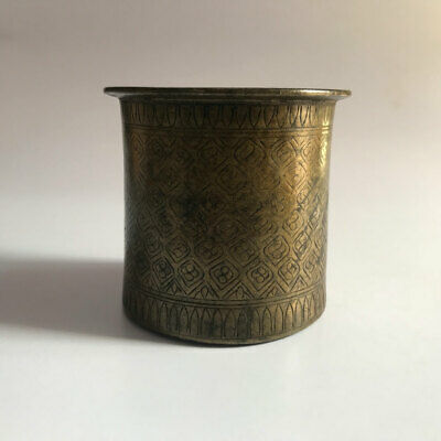 Solid brass holy water pot Panchpatra old Hindu Traditional Ritual for temple