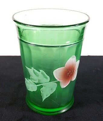 """Early 1900s Paneled Northwood Tumbler Handpainted Floral Green Glass 4 1/4"""" FINE"""