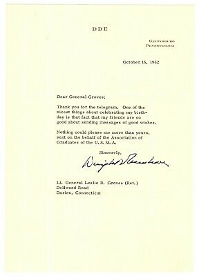 Dwight D. Eisenhower - Typed Letter Signed - To Leslie Groves - Key WWII Figures
